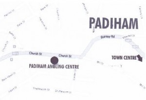 location map of padiham angling centre